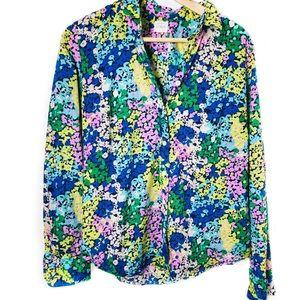 "J Crew Vibrant Floral ""Perfect Shirt"" Button Down"